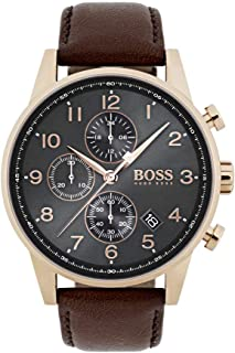 Hugo Boss Casual Watch Analog Display Quartz For Men 1513496, Brown Band