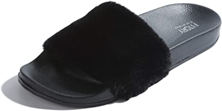 FITORY Women Slides Slippers,Faux Fur Slide Slip On Flats Sandals with Arch Support Open Toe Soft Girls Indoor Outdoor Shoes