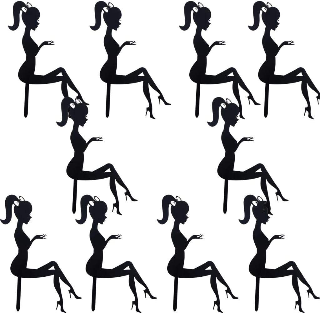 Lady Girl Acrylic Cake Topper Weddding Cake Decoration Happy Birthday Cupcake Topper Dessert Sign High Heels For Party Supplies