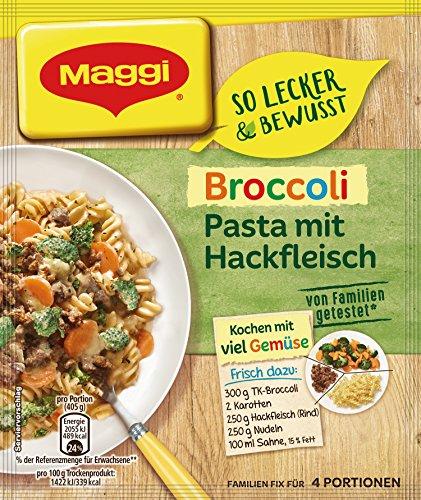Maggi Familien fix & frisch Broccoli Pasta mit Hackfleisch, 41 g Beutel, ergibt 4 Portionen,19er pack (19 x 41g)