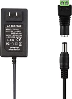 COOLM AC Adapter 12V 3A Power Supply Transformer AC 100V-240V 50 60Hz to 12VDC 5.5mm x 2.5mm DC Jack LED Driver Switching Power Adapter US Plug for LCD Monitor, Wireless Router, CCTV Cameras 36W Max