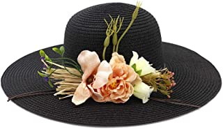 Summer Straw Hat Women Wide-Brimmed Beach Hat Sun Hat Flower Folding Sunscreen UV Protection Panama Hat` TuanTuan (Color : Black, Size : 56-58CM)