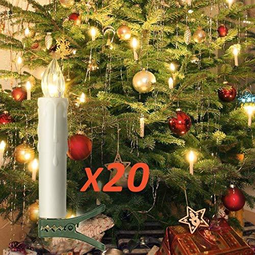 20 LED Kerzen Flammenlose mit Timer Fernbedienung,Starker Weihnachtskerzen Batteriebetriebene, IP64 Dimmbar Kerzenlichter Weihnachtskerzen für Weihnachtsbaum,Weihnachtsdeko,Hochzeit,Geburtstags,Ostern