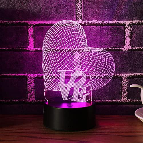 MOPOIN I Love You Night Lights Regalos para niños Mujeres Mamá Chicas Smart Touch y control remoto Lámpara de ilusión 3D de 7 colores Amor romántico Luz para niños Lámparas de escritorio led Te amo