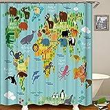 Wzz Duschvorhang Weltkarte Muster Cartoon Animal Print Baddeko Wasserdichter Duschvorhänge Für Kinder Badzubehör Mit Haken Polyester,W150CM*H180CM