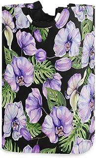 Mnsruu Panier à linge pliable avec poignées Motif orchidée