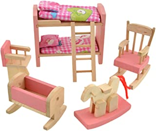 Vktech® Wooden Dollhouse Funiture Kids Child Room Set Play Toy (Bunk Bed)