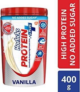 Horlicks Protein, Health and Nutrition Drink, No Added Sugar, 400g Jar (Vanilla)