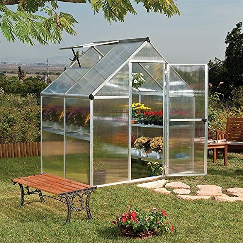 Palram-Canopia 6x4 Mythos Silver Polycarbonate Greenhouse - TwinWall with Base