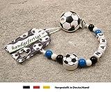 kleinerStorch Baby SCHNULLERKETTE mit Namen - Motiv Fussball in Vereinsfarben - blau, weiß, schwarz