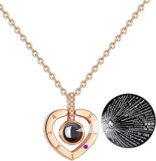 Necklace I Love You 100 Languages Rose Gold Projection Pendant Necklace That Says I Love U Different Ways Birthday for Her Girlfriend Wife Mom Girls Box