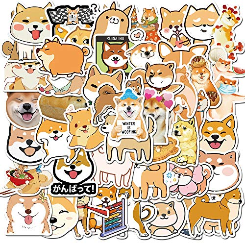 Cute Dog Stickers for Girls Laptop Water Bottle, Vinyl Decal for Luggage Skateboard Travel Case Computer Bike Helmet Hydro Flask, Best Gift for Kids and Teen (Shiba Inu)