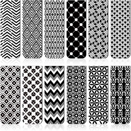 24 Pieces Magnetic Bookmarks Magnet Page Markers Assorted Bookmarks Set for Students Reading (Black and White)