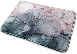 Blush and Payne's Grey Flowing Aract Painting Super Absorbent Mat Interior and Exterior Decorative Carpet Doormat Bathroom...