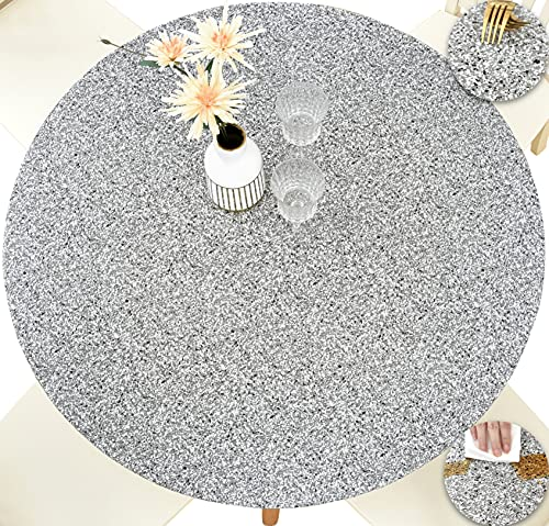 HomeyPlus Round Vinyl Fitted Tablecloth with Flannel Backing, Waterproof Wipeable Table Cover Elastic Edge, Grey Granite Pattern, for Round Tables of 36 - 42 Inches, Seats up to 5