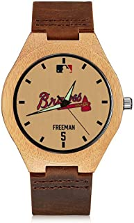 '47 Freddie Freeman Atlanta Braves Vintage Watch Natural Wooden Watches,Handmade Casual Wrist Watch Leather Wood Watch for Men & Women & Youth Kids