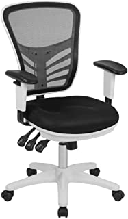 Flash Furniture Mid-Back Black Mesh Multifunction Executive Swivel Ergonomic Office Chair with Adjustable Arms and White F...