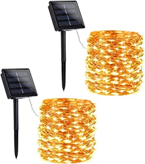 Toodour 2 Pack Solar Christmas Lights, 72ft 200 LED 8 Modes Solar String Lights, Waterproof Solar Powered Copper Wire Fairy Lights for Garden, Party, Holiday, Christmas Decorations (Warm White)