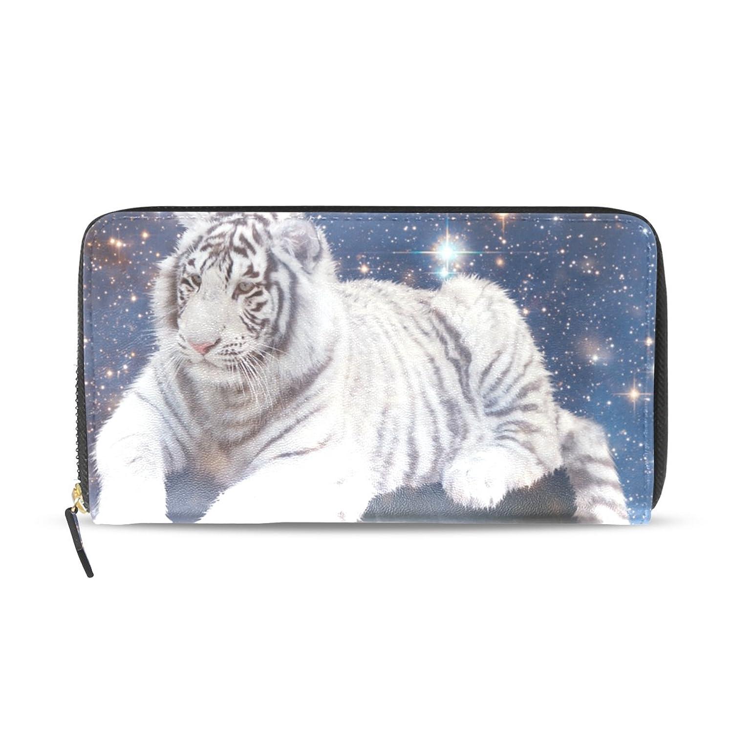 人間読者うまくいけばAOMOKI 財布 レディース 長財布 大容量 タイガー 地球 ラウンドファスナー PUレザー 幅20*丈11cm