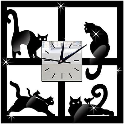 Whitelotous 3D Black Cat Acrylic Mirror Wall Clock - Ultra Mute - Wall Sticker Clock -