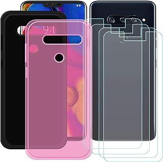 YZKJ [2 stycken skal för LG V40 ThinQ Cover svart + rosa mjuk silikon skyddande skydd TPU skal skal skal 4 x pansarglas sk...