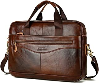 Men's Handmade Leather Briefcase Laptop Bag Messenger Shoulder Bag (Brown)