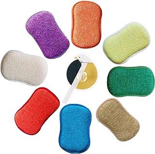 Estropajo Estropajo de cocina de doble cara esponjas de microfibra antibacteriano sin olor Dish Scrubber Cepillo, ideal para antiadherente sartenes ollas, pack de 5colores al azar.