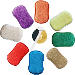 Microfiber Kitchen Scouring Pads Double Sided Scrubbing Sponges Scourer Non Odor Dish Scrubber Brush, Great for Non Stick Pans Pots Cookware, Pack of 5 Random Colors with Adhesive Hooks
