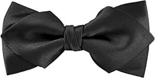 Luxurious Matte Satin Solid Black Bowtie Mens Bow Tie by Murong Jun | Great for a Wedding or Tuxedo