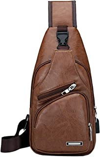 Vintage Leather Sling Bag Backpack for Men Crossbody Shoulder Chest Day Pack Backpacks, 32Brown(PU/USB) (Brown) - BL1132