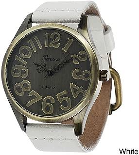 Geneva Platinum Women's Faux Leather Vintage-Style Watch-White