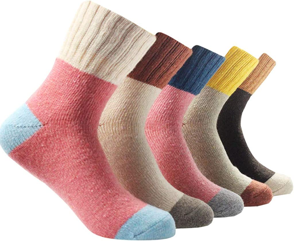 Muranba 5 Pairs Women Winter Warm Vintage Floor Socks Lady Casual Socks Tube Socks