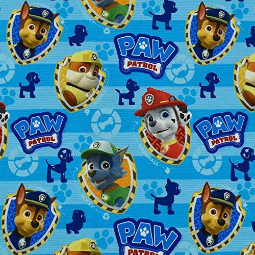 Jersey Paw Patrol Hundeköpfe, blau (25cm x 155cm)