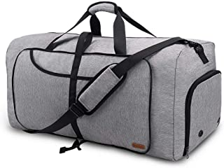 Vogshow 80L Large Packable Travel Duffle Bag, Overnight Weekend Carry on Holdall Bag Foldable Sports Gym Bag with Shoe Com...