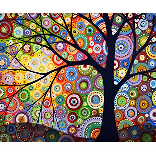 MXJSUA DIY 5D Diamond Painting by Number Kits Full Drill Rhinestone Pictures Arts Craft for Home Wall Decor,Geometric Colored Tree 12x16 inches