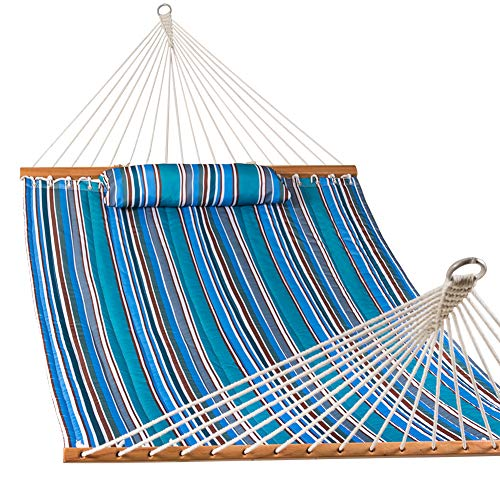Lazy Daze Hammocks Quilted Fabric Double Hammock with Pillow, Spreader Bar Swing for Two Person, Peacock Green Stripe