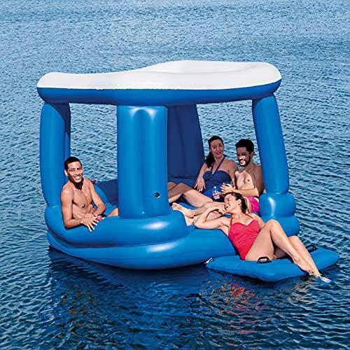 ZYZYZY Flotadores De Piscina Tienda De Sombra Cama Flotante Sostenible Al Aire Libre Fiesta En La Piscina Verano Playa Juguetes Niños Adultos Multijugador Flotador Inflable De Piscina-A 218x218cm
