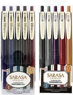 Zebra Sarasa Clip 0.5 Retractable Gel Ink Pen, Rubber Grip, 0.5 mm, Vintage Colors, 10 Color Bundle (JJ15-5C-VI2+JJ15-5C-VI2)