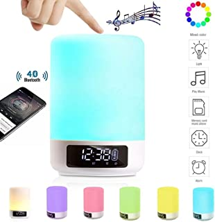 Bluetooth Speaker Lamp Alarm Clock MP3 Player - DENT Products Bedside Table Desk Lamp Night Light Color Changing Touch Sensor