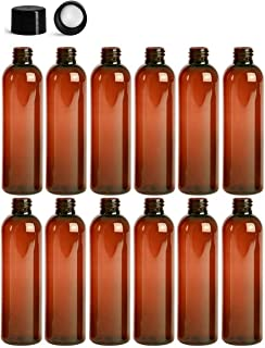 4 Ounce PET BPA-Free Plastic Empty Refillable Cosmo Round Bottles With Solid, Smooth, Lined Black Caps (12 count) (Amber)