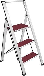 "Sorfey Aluminum Folding 3 Step Ladder Stool for Adults, Anti Slip, Sturdy, 2"" Slim Design, Very Easy to Store, Heavy Duty ..."