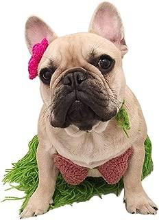 Amakunft Dog Hawaii Bikini Costume, Pet Polynesian Hula Girl Cosplay for Halloween Christmas Party Bra Skirt with Flower Clip Lei Set for Puppy & Cat