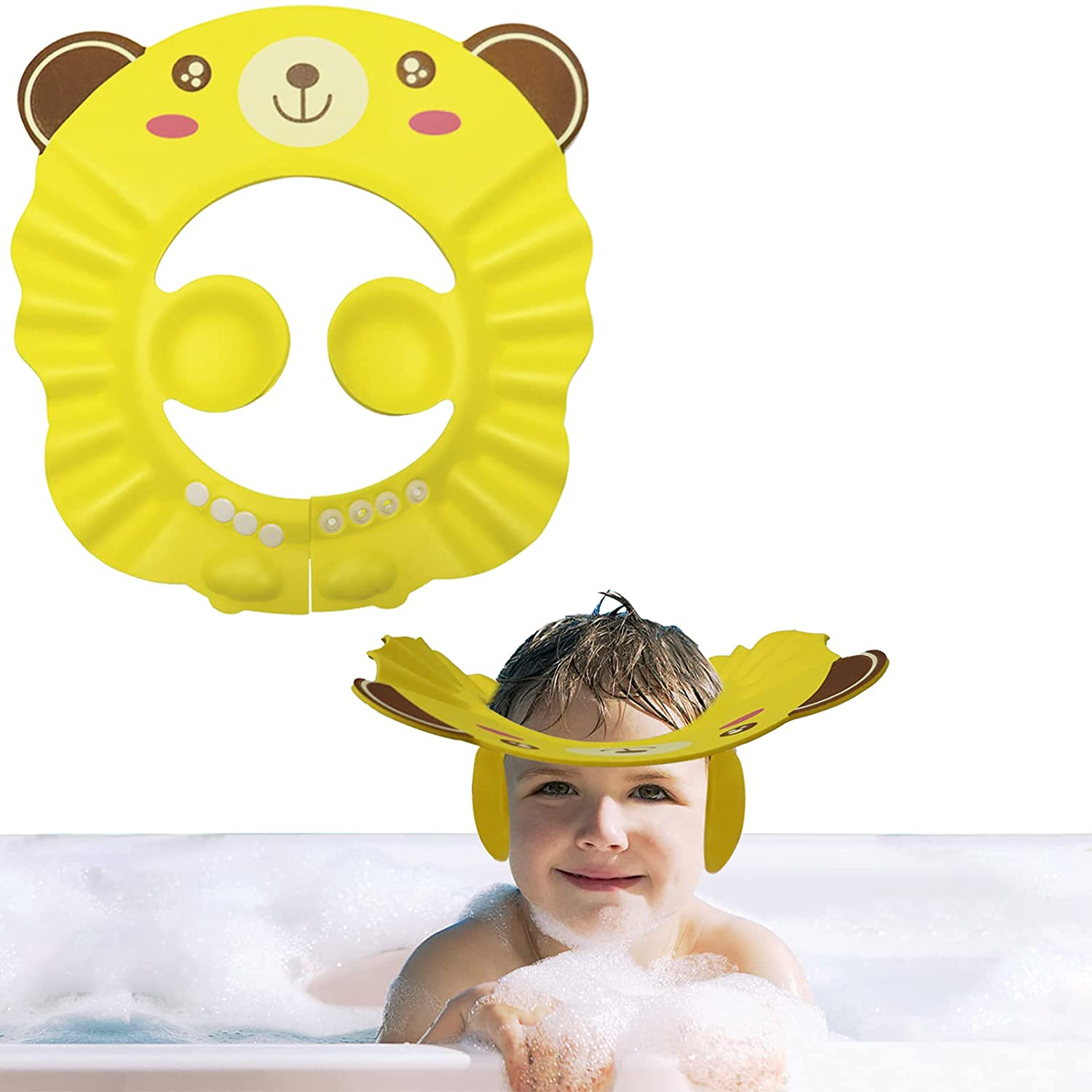 Fudragtn Baby Shower Cap, 1 pcs Little Bear Adjustable Bath Shampoo Cap, Children's Shampoo Foam Protective Cover, can Prevent Water and Foam from Entering The Baby's Ears and Eyes