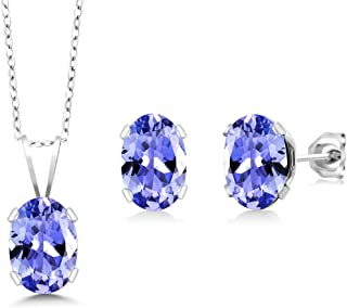 925 Sterling Silver Tanzanite Pendant Necklace Earring Set (1.75 Cttw, Gemstone Birthstone, With 18 Inch Silver Chain)