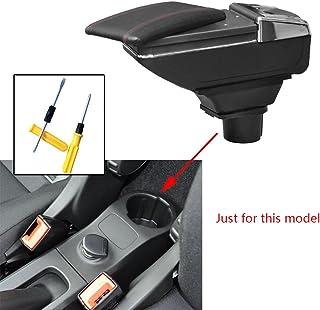 AniFM Bracciolo per Auto in Pelle PU per Smart 453 Fortwo Forfour 2015-2018 con Accessori per Auto Contenitore Contenitore portabicchieri