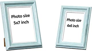 """Art Street Customize Table Photo Frame/Picture Frame for Desk (Photo Size 5""""X7"""" & 4""""X6"""") Photo Gift/Love Gift - (Set of 2- Light Blue)"""