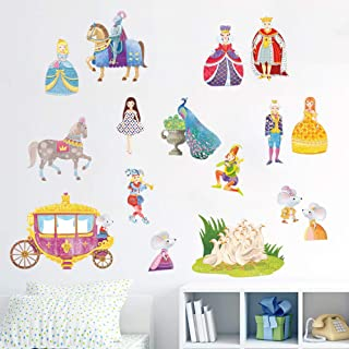 decalmile Princess Girls Wall Decals Carriage Fairytale Kids Wall Stickers Baby Nursery Bedroom Wall Decor