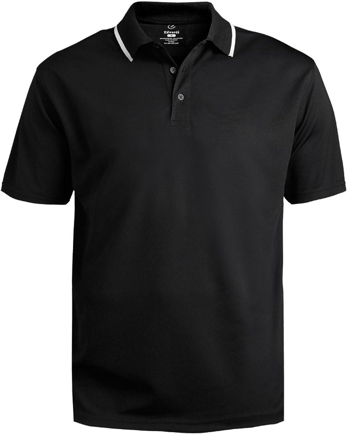 Edwards Garment Men's Big and Tall Performance Polo Shirt, Black, 5XL T