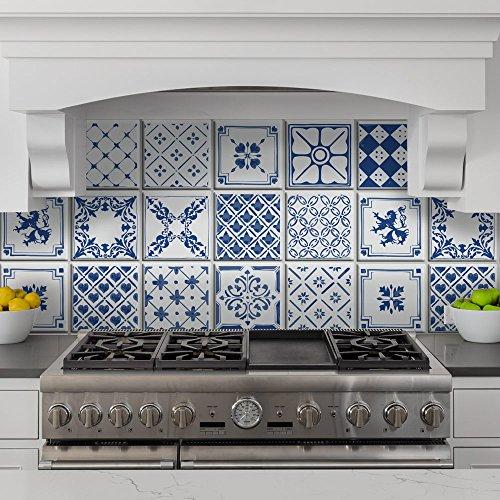 wall art PS00064 Adesivi in PVC per Piastrelle per Bagno e Cucina Stickers Design - Composizione vittoriana