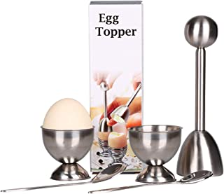 Egg Cutter Topper Set for Soft & Hard Boiled Eggs Egg Cracker include 2 Egg Cups, 2 Spoons, 1 Topper Cutter Shell Remover ...